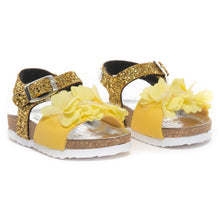 Load image into Gallery viewer, Monnalisa Girls Yellow Flower Glitter Sandals
