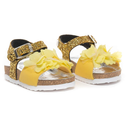 Monnalisa Girls Yellow Flower Glitter Sandals