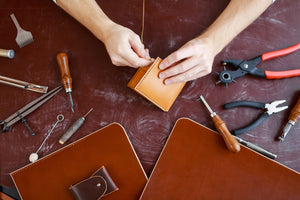 Kerry Noël leather wallets are hand stitched with highest quality threads and materials.