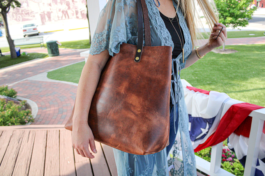 Saddle Brown Luxury Leather Tote by Kerry Noël is the Perfect Mother's Day Gift!