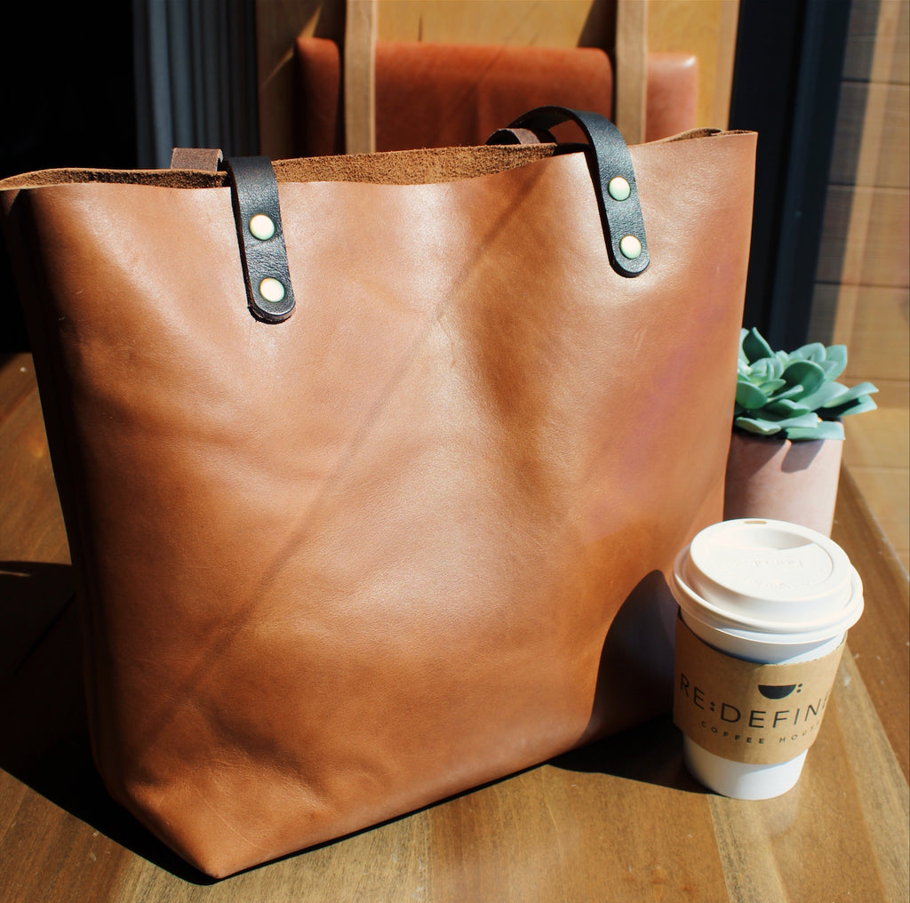 Kerry Noël Large Leather Tote in Brown with Black Handles