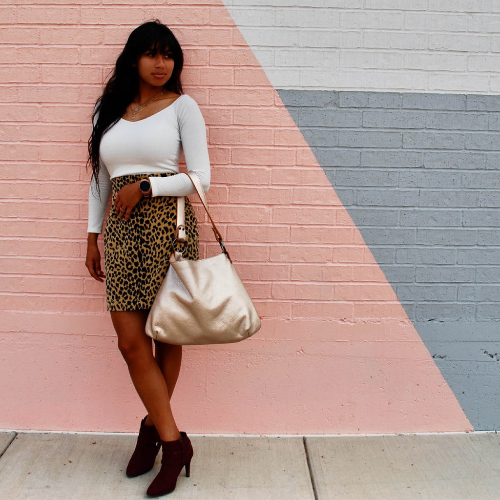 The Platinum Leather Hobo by Kerry Noël is a luxurious option for making your outfit totally chic!