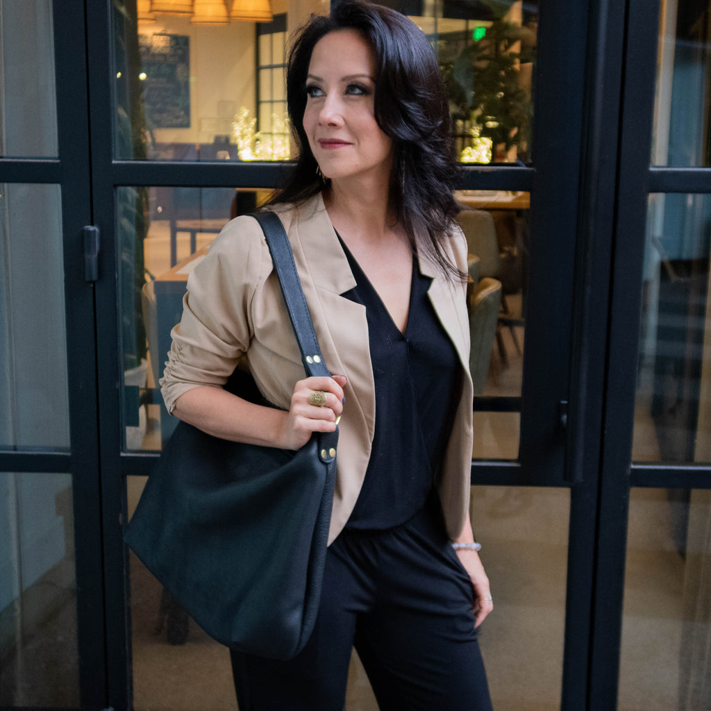 The Black Leather Hobo by Kerry Noël is the most classic of all our luxury leather handbags hand crafted from beautiful full grain natural leather.