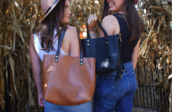 The brown and black leather totes pictured here is one of the most perfect handmade leather bags in the USA