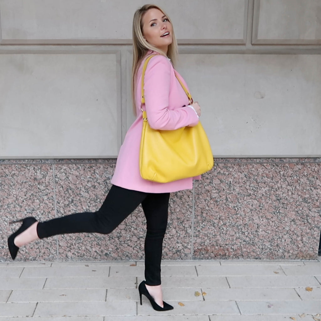 The Perfect Yellow Hobo bag by Kerry Noël is the ideal luxury leather hobo to match with your cutest outfit!