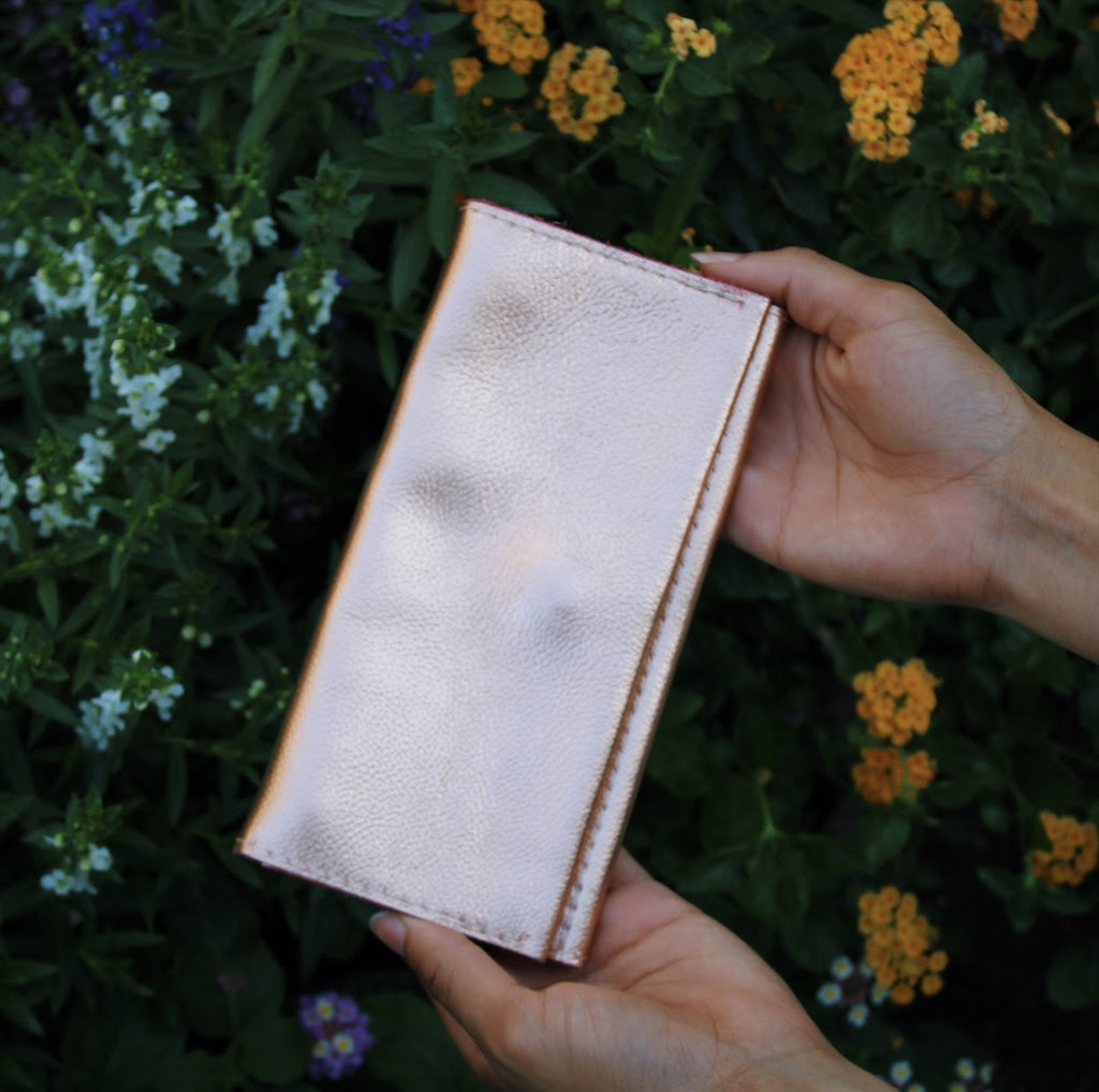 Rose Gold Leather Wallet by Kerry Noël is the perfect gift for mom on Mother's Day!