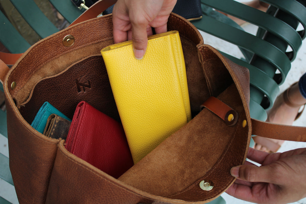 The Yellow Leather Minimalist Wallet by Kerry Noel is the perfect option for fall!