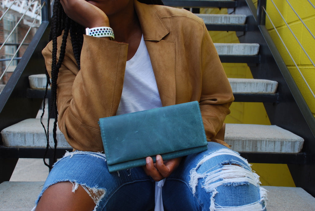 Distressed Blue Wallets by Kerry Noël are a perfect luxury leather wallet color option for the Spring!