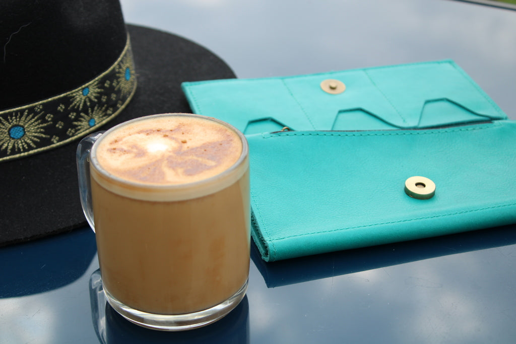 The Turquoise Leather Wallet by Kerry Noël is one of numerous spring blue color options that the 32-card wallet comes in on KerryNoel.com