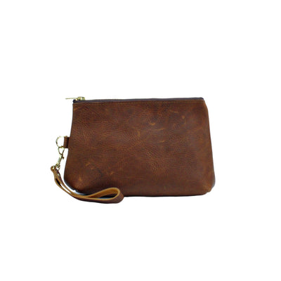Tan Leather Zippered Clutch Wristlet front view