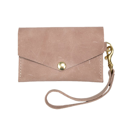 Closed View of Kerry Noël snap closure wallet with credit card case wallet capacity in blush.
