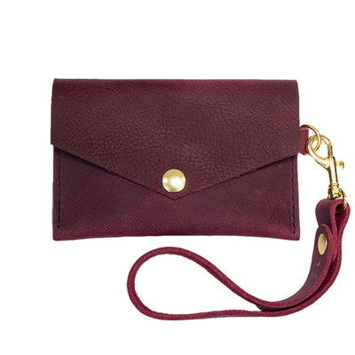 Closed View of Kerry Noël snap closure wallet with leather card case wallet womens capacity in Burgundy.