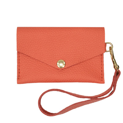 Closed View of Kerry Noël snap closure wallet with leather card case wallet capacity in Coral.
