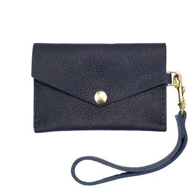 Closed View of Kerry Noël snap closure wallet with card case wallet keychain in Navy.