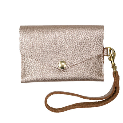 Closed View of Kerry Noël snap closure wallet with leather card case wallet womens capacity in Platinum.