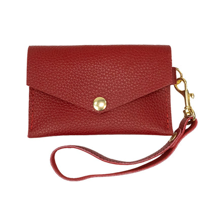 Closed View of Kerry Noël snap closure wallet with credit card case wallet womens capacity in Red.