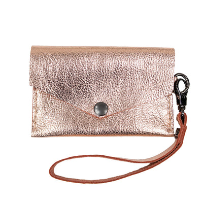 Closed View of Kerry Noël snap closure wallet with leather card case wallet keychain in Rose Gold.