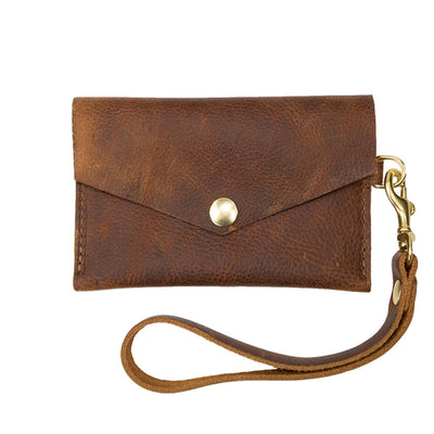 Closed View of Kerry Noël snap closure wallet with leather card case wallet womens capacity in Tan.