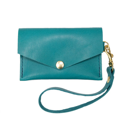 Closed View of Kerry Noël snap closure wallet with leather card case wallet womens capacity in Turquoise.