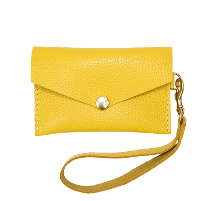 Closed View of Kerry Noël snap closure wallet with leather card case wallet womens capacity in Yellow.
