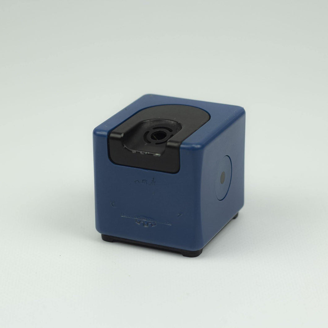 Braun T3 table lighter designed by Dieter Rams, 1970. Blue.