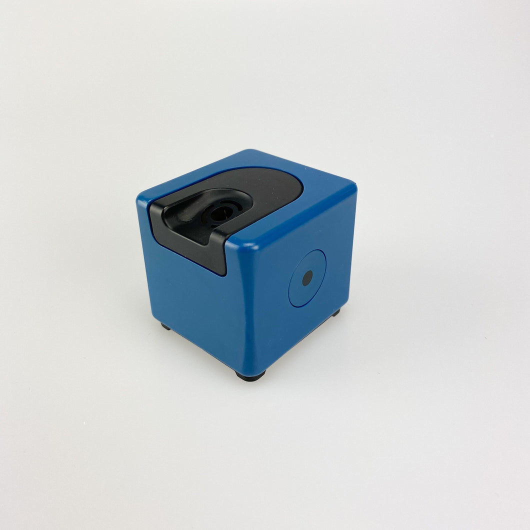 Braun T3 bench table lighter design by Dieter Rams, 1970. Blue.