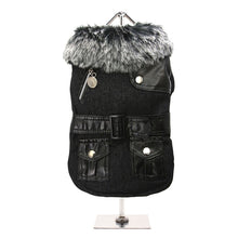 Load image into Gallery viewer, Black Fabric Coat with Fur Collar & Leather Belt
