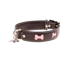 Hamish McBeth Bones Leather Dog Collar