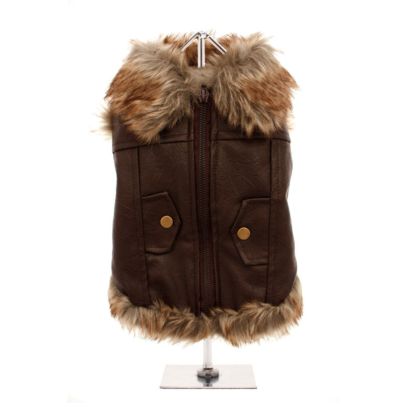 Leather Fur Trimmed Flying Jacket