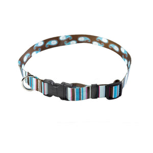 Yellow Dog Design Brown Stripes With Paisley Dog Collar