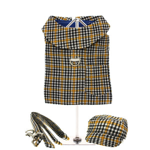 Black & Yellow Checked Harness, Lead & Matching Cap