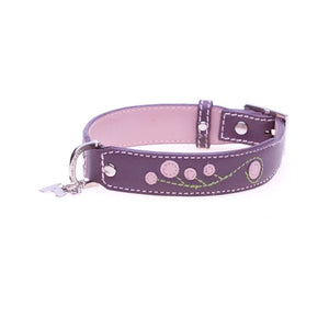 Hamish McBeth Leather Dog Collar Cherry Blossom Purple
