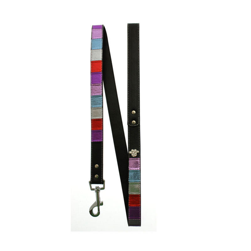 Striped Metallic Diamante Paw Lead