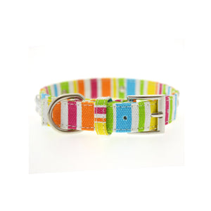 Striped Neon Canvas Diamante Bone Collar