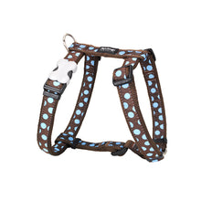 Load image into Gallery viewer, Red Dingo Dog Harness Blue Spots on Brown