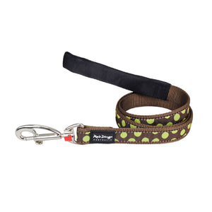 Red Dingo Dog Lead Green Spots on Brown