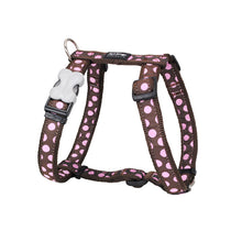 Load image into Gallery viewer, Red Dingo Dog Harness Pink Spots on Brown