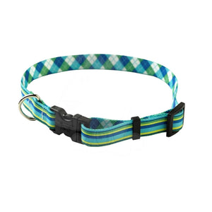 Yellow Dog Design Blue Stripes W-Argyle Dog Collar