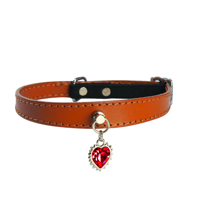 Bobby Heart of the Ocean Leather Cat Collar