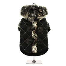 Load image into Gallery viewer, Luxury Black - White Duffle Coat with Detachable Hood