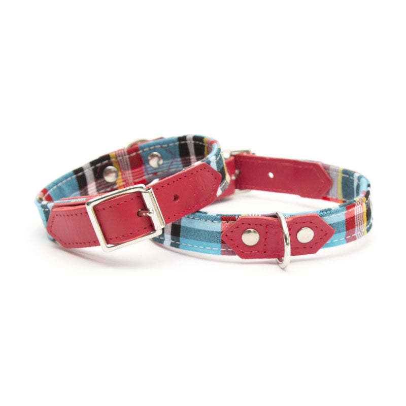 Masai Summer Blue Check Dog Collar