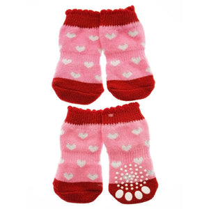 Pink - Red ''Glitter Hearts'' Pet Socks