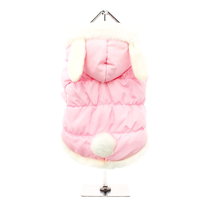 Pink Quilted Coat with Hood and Ears