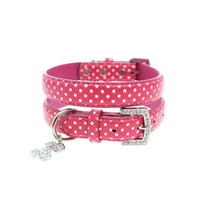 Load image into Gallery viewer, Hot Pink Polka Dot Collar & Diamante Heart Charm