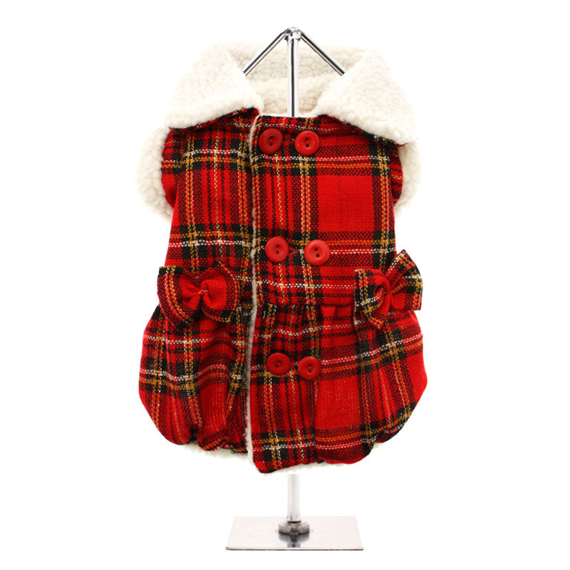 Red Highland Tartan Fleece-Lined Coat