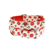 Load image into Gallery viewer, Red - White Polka Dot Glitter Silver Bone Collar
