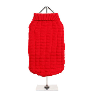 Waffle Textured Knitted Sweater (Red-Brown)