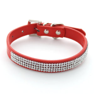 Diamante Doggy Leather Collar
