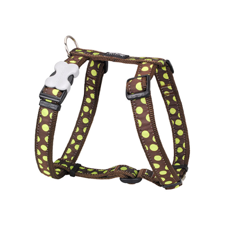 Red Dingo Green Spots on Dog Harness