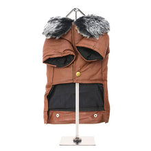 Load image into Gallery viewer, Tan Leather Coat with Fur Collar